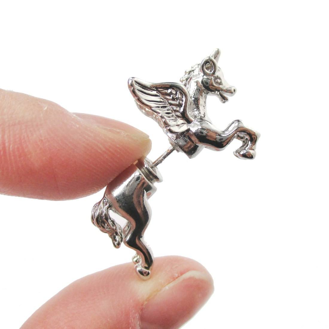 Mythical Unicorn Animal Front and Back Stud Earrings in Shiny Silver