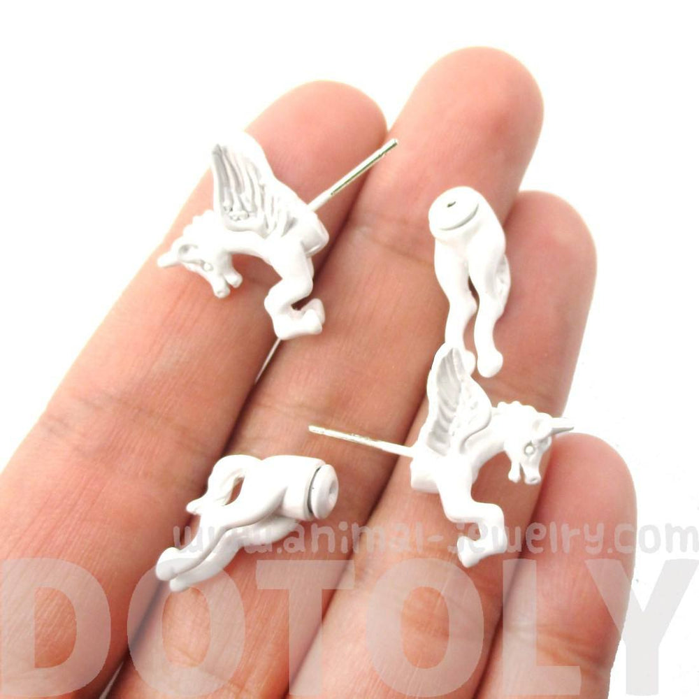Fake Gauge Earrings: Mythical Unicorn Animal Front and Back Stud Earrings in White | DOTOLY