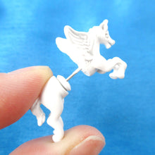 Mythical Unicorn Animal Front Back Fake Gauge Stud Earrings in White