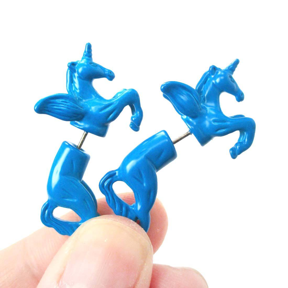 Mythical Unicorn Horse Animal Shaped Fake Gauge Stud Earrings in Blue