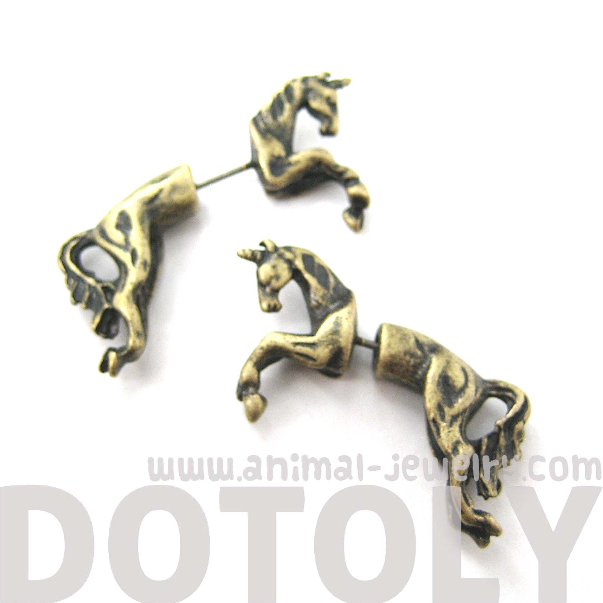fake-gauge-earrings-mythical-unicorn-horse-animal-faux-plug-stud-earrings-in-brass