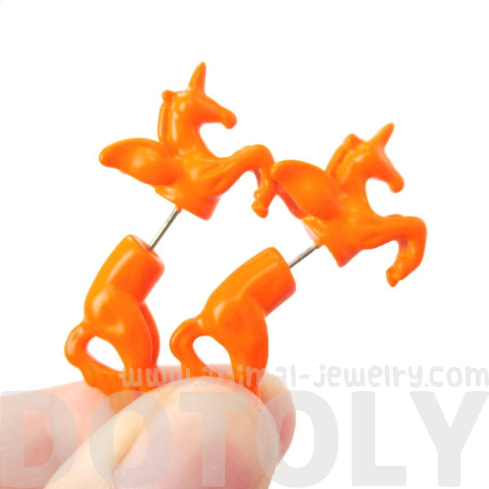 Mythical Unicorn Horse Animal Shaped Orange Fake Gauge Stud Earrings