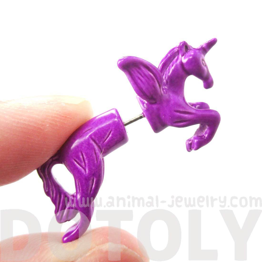 Mythical Unicorn Horse Animal Faux Fake Gauge Stud Earrings in Purple