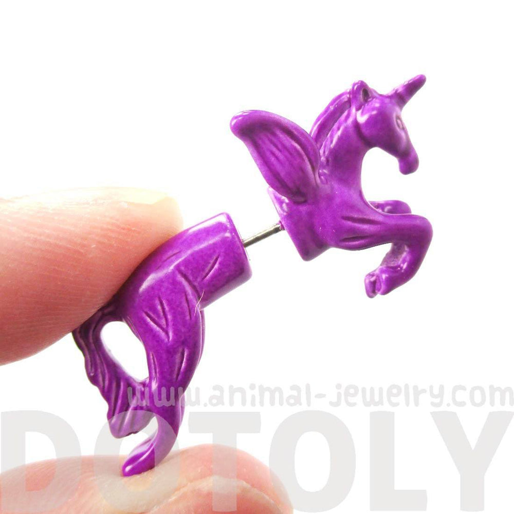 Fake Gauge Earrings: Mythical Unicorn Horse Animal Faux Plug Stud Earrings in Purple | DOTOLY