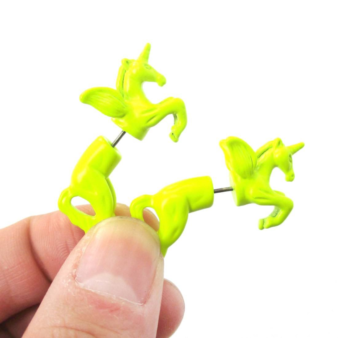 Unicorn Horse Animal Front and Back Fake Gauge Earrings in Neon Yellow