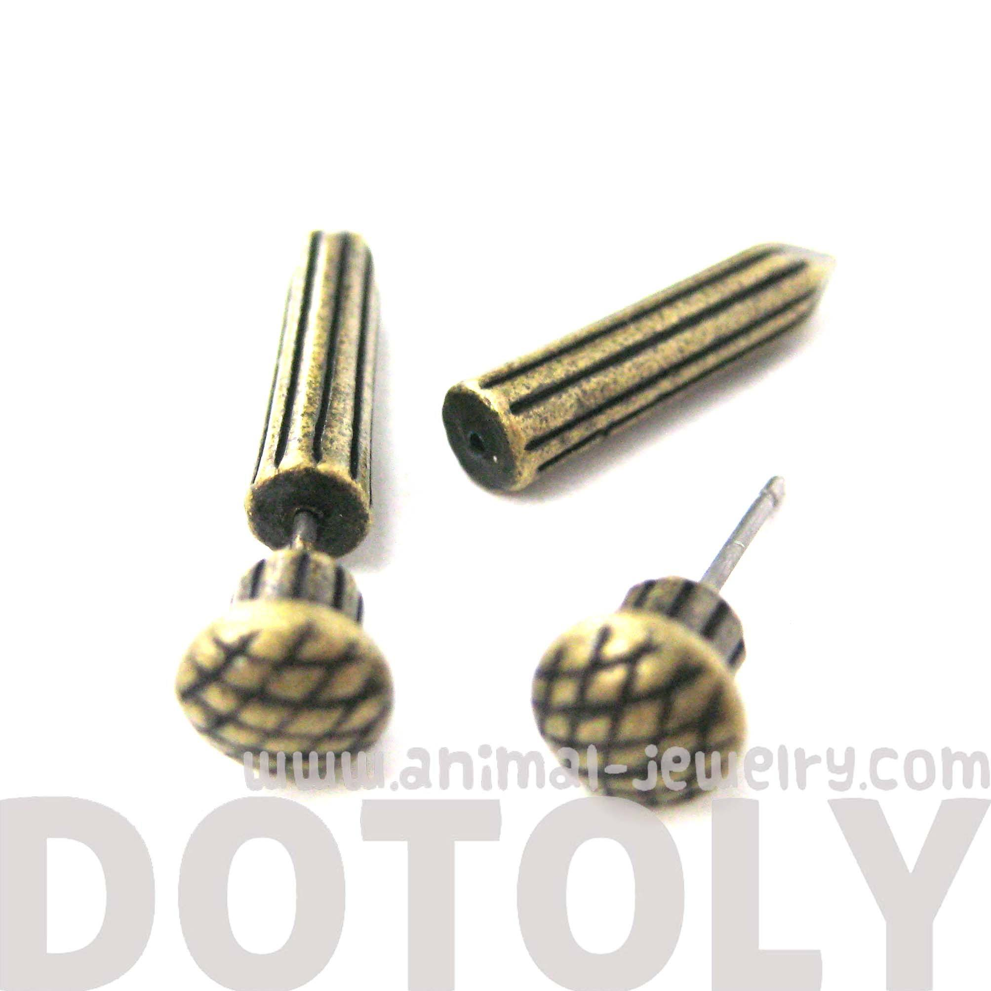 fake-gauge-earrings-nail-spike-stake-shaped-faux-plug-stud-earrings-in-brass