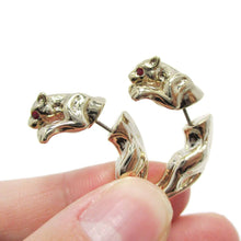 Pouncing Jaguar Shaped Front and Back Earrings in Gold