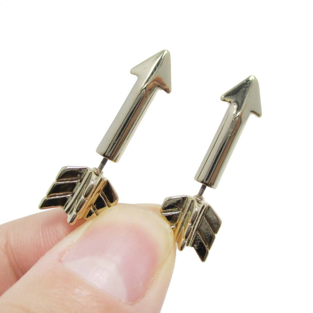 3D Arrow Shaped Front and Back Stud Earrings in Gold