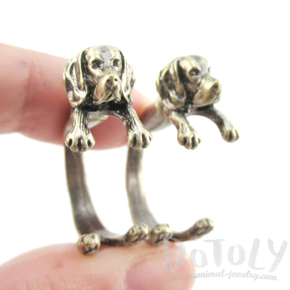 Beagle Puppy Dog Shape Two Part Stud Earrings in Brass