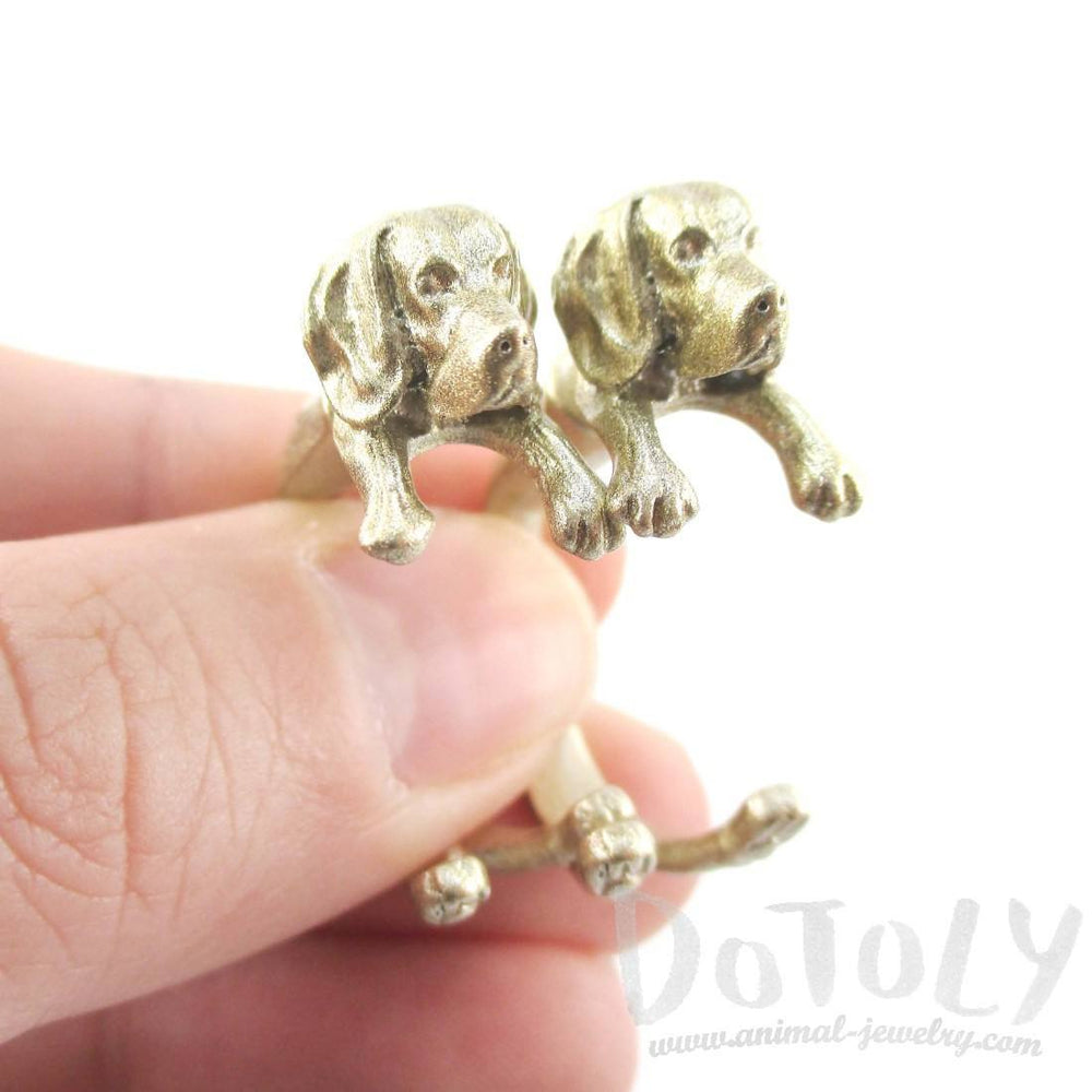 Fake Gauge Earrings: Realistic Beagle Puppy Dog Shaped Two Part Stud Earrings in Gold | DOTOLY