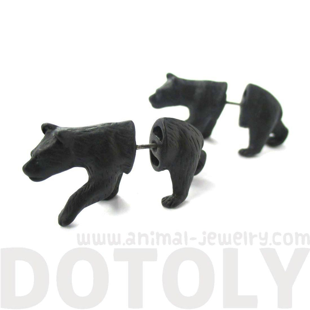 Realistic Black Bear Shaped Animal Themed Fake Gauge Stud Earrings