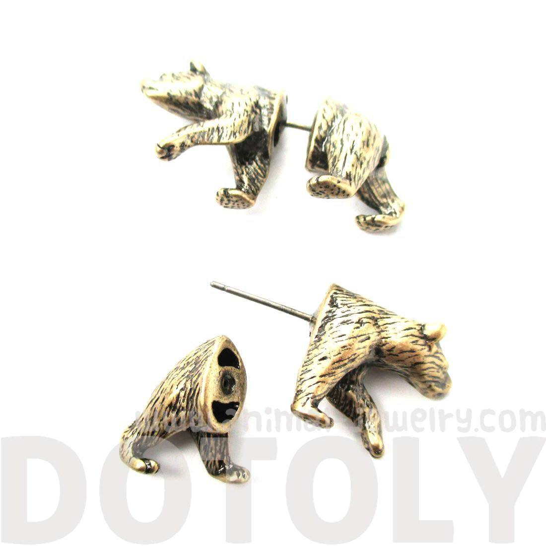 Realistic Brown Bear Shaped Animal Themed Fake Gauge Stud Earrings