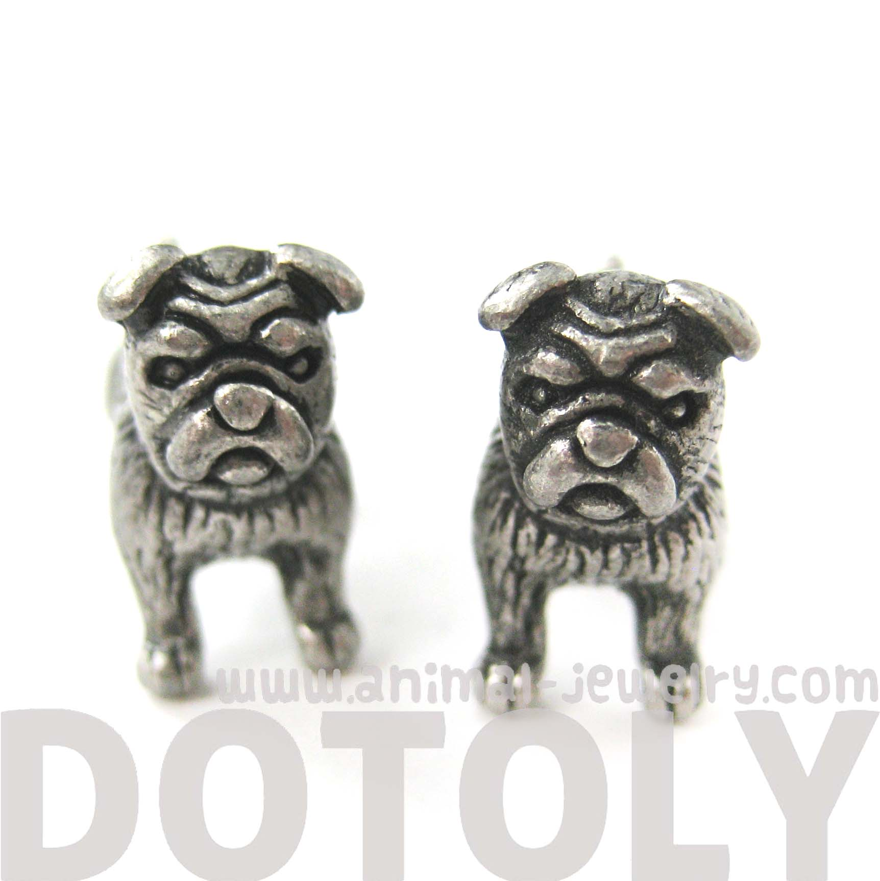 fake-gauge-earrings-realistic-bulldog-puppy-dog-animal-stud-earrings-in-silver