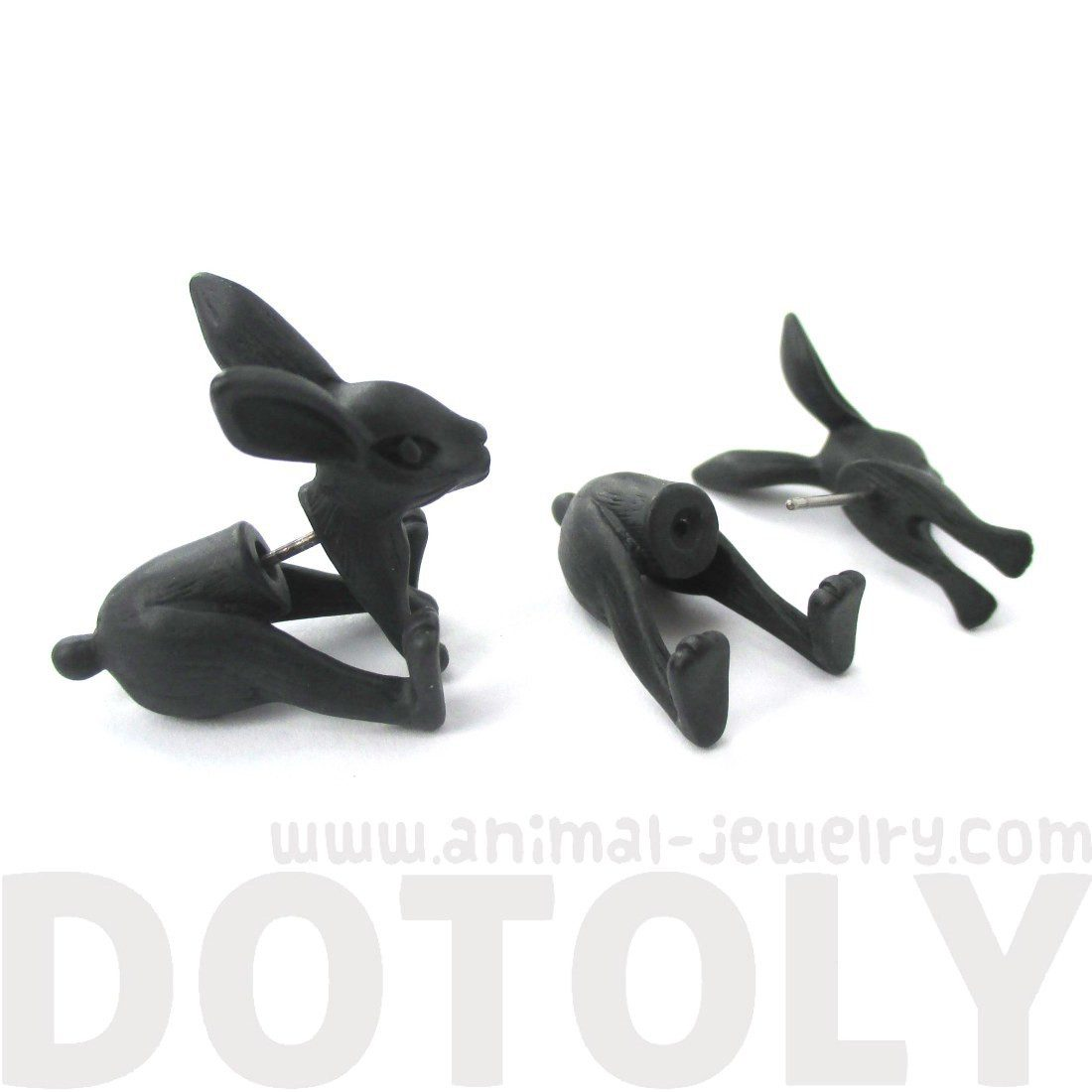 Realistic Bunny Rabbit Shaped Plug Fake Gauge Stud Earrings in Black