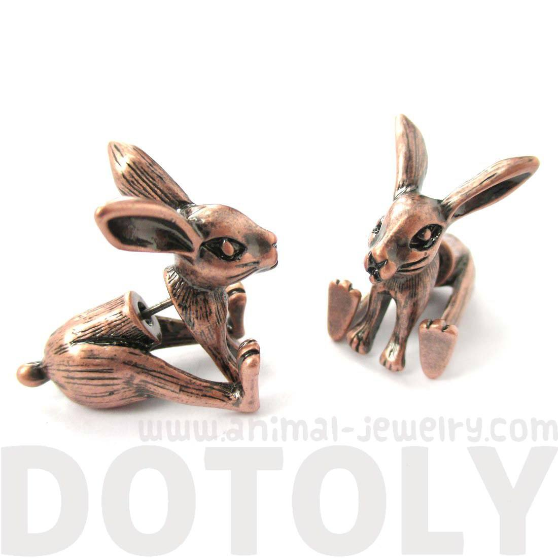 Realistic Bunny Rabbit Shaped Plug Fake Gauge Stud Earrings in Copper