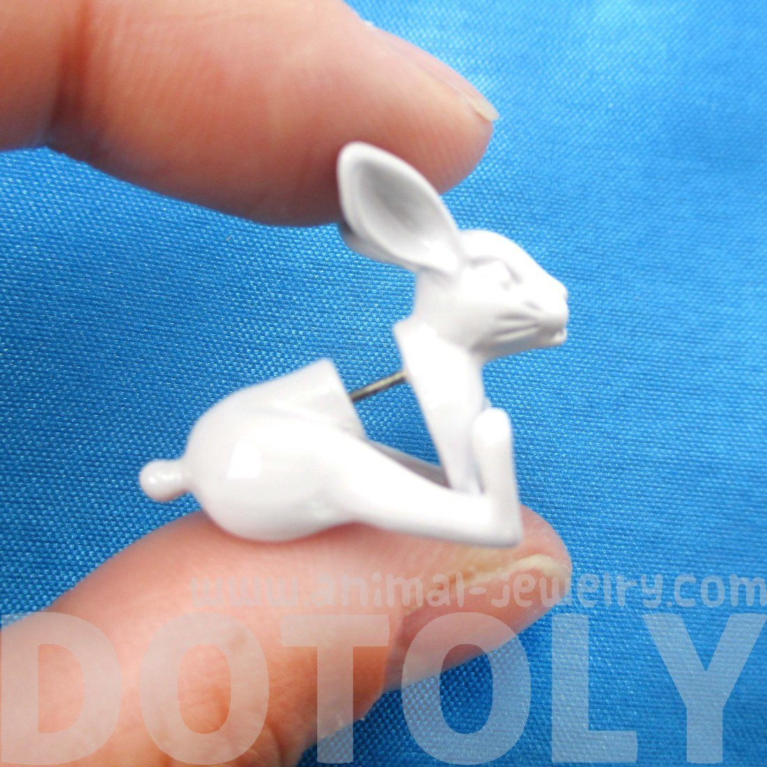 Realistic Bunny Rabbit Shaped Plug Fake Gauge Stud Earrings in White