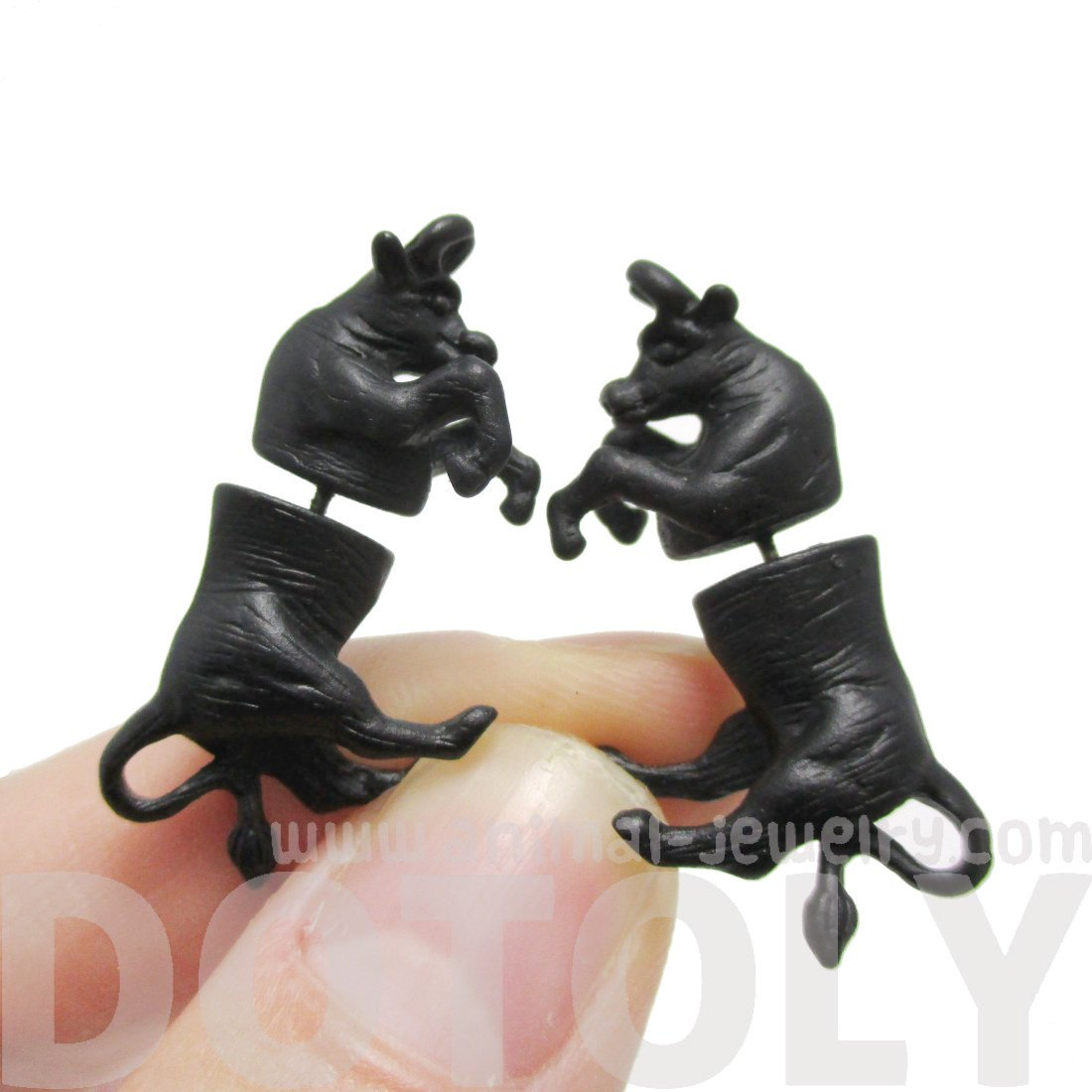 Cow Bull Shaped Animal Front and Back Earrings in Black