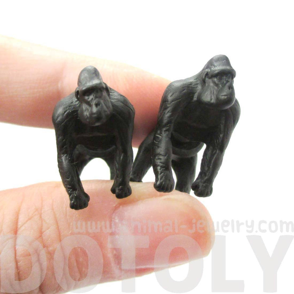 Realistic Gorilla Shaped Animal Themed Fake Gauge Earrings in Black