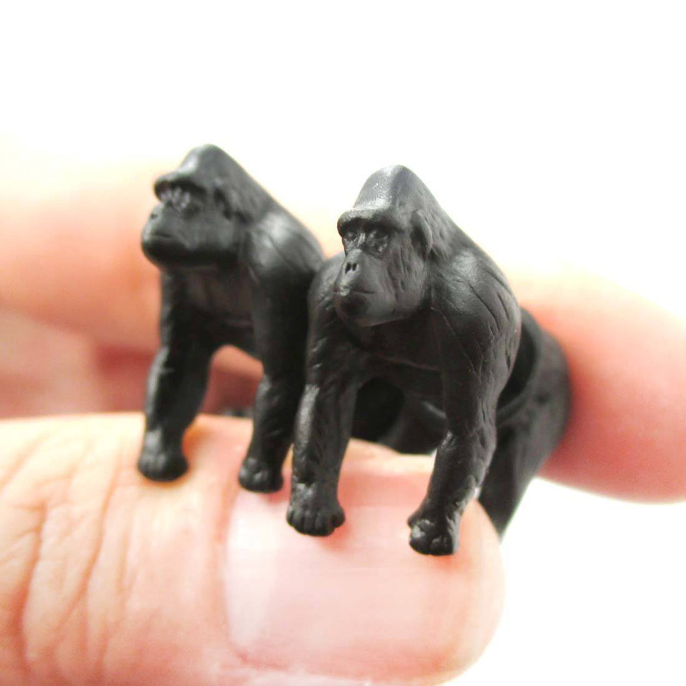 Fake Gauge Earrings: Realistic Gorilla Monkey Shaped Animal Themed Stud Earrings in Black | DOTOLY