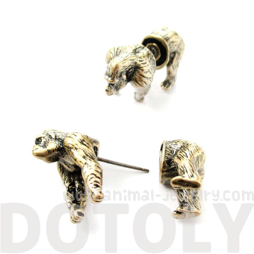 Realistic Gorilla Shaped Animal Themed Fake Gauge Earrings in Brass
