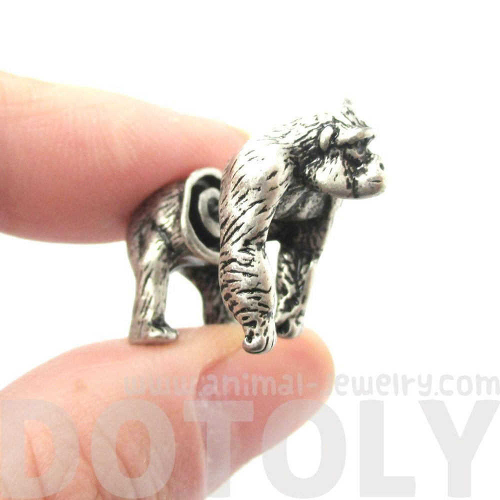 Realistic Gorilla Shaped Animal Themed Fake Gauge Earrings in Silver
