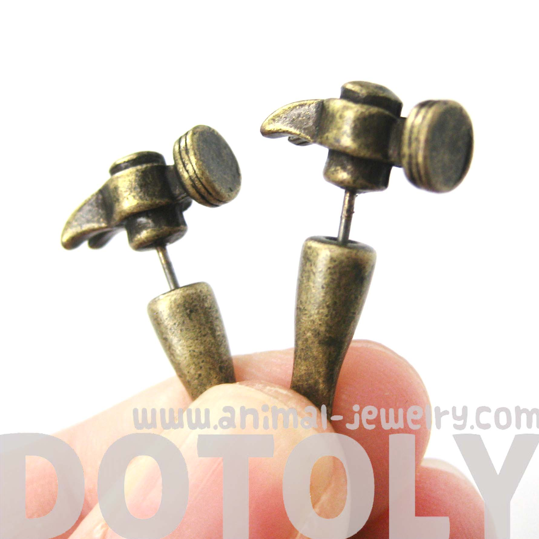 fake-gauge-earrings-realistic-hammer-shaped-faux-plug-stud-earrings-in-bronze