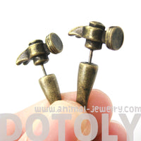 Fake Gauge Earrings: Realistic Hammer Shaped Faux Plug Stud Earrings in Bronze | DOTOLY