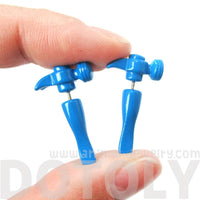Fake Gauge Earrings: Realistic Hammer Shaped Front and Back Stud Earrings in Blue | DOTOLY