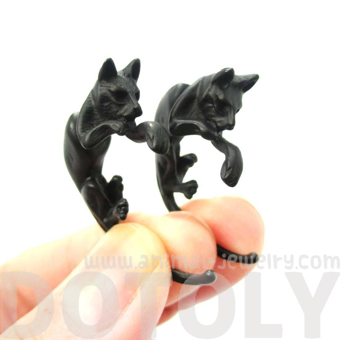 Realistic Kitty Cat Animal Shaped Fake Gauge Stud Earrings in Black