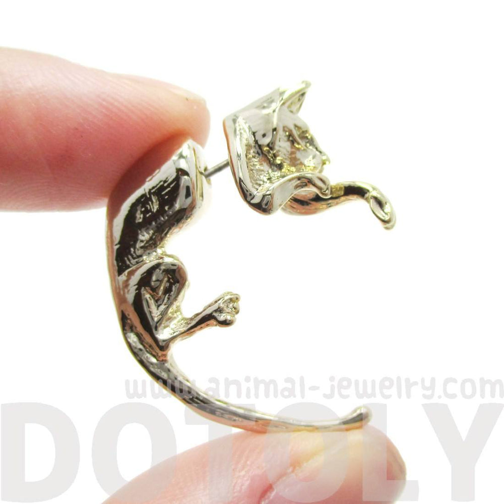 Kitty Cat Animal Shaped Front and Back Earrings in Gold