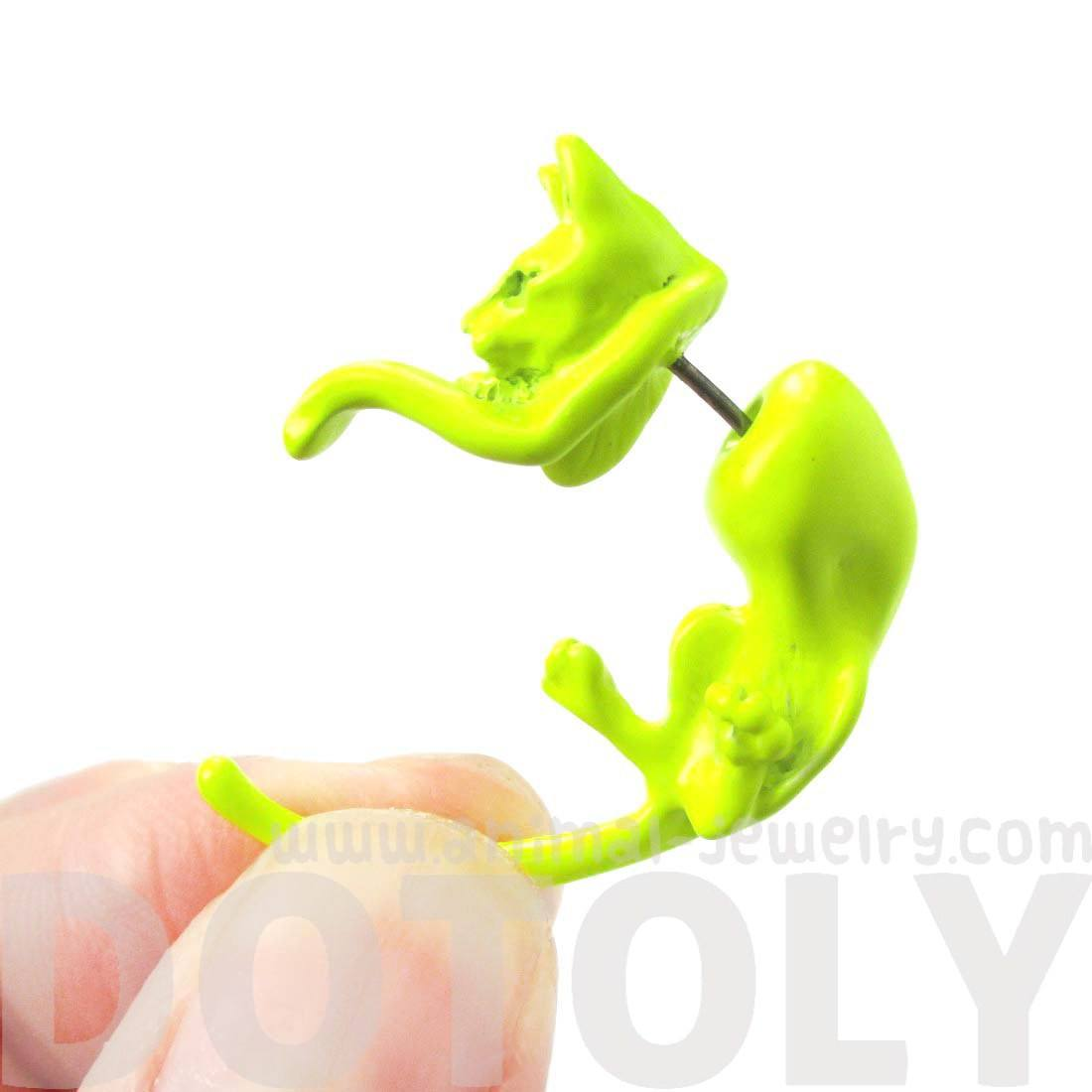 Kitty Cat Pet Animal Shaped Fake Gauge Stud Earrings in Neon Yellow