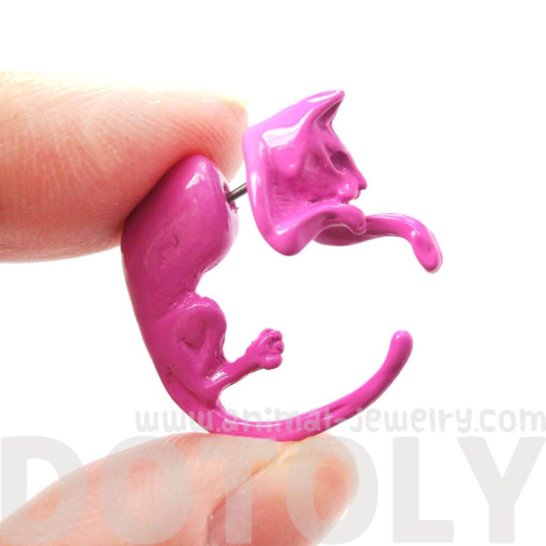 Realistic Kitty Cat Animal Shaped Fake Gauge Stud Earrings in Pink