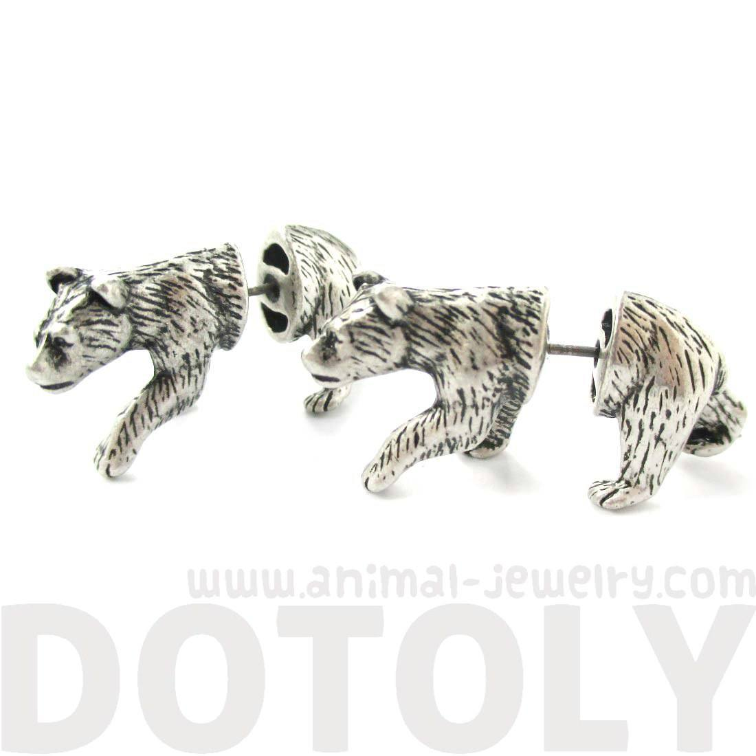 Realistic Polar Bear Shaped Animal Themed Fake Gauge Stud Earrings