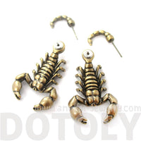 Scorpion Shaped Front and Back Fake Gauge Stud Earrings in Brass