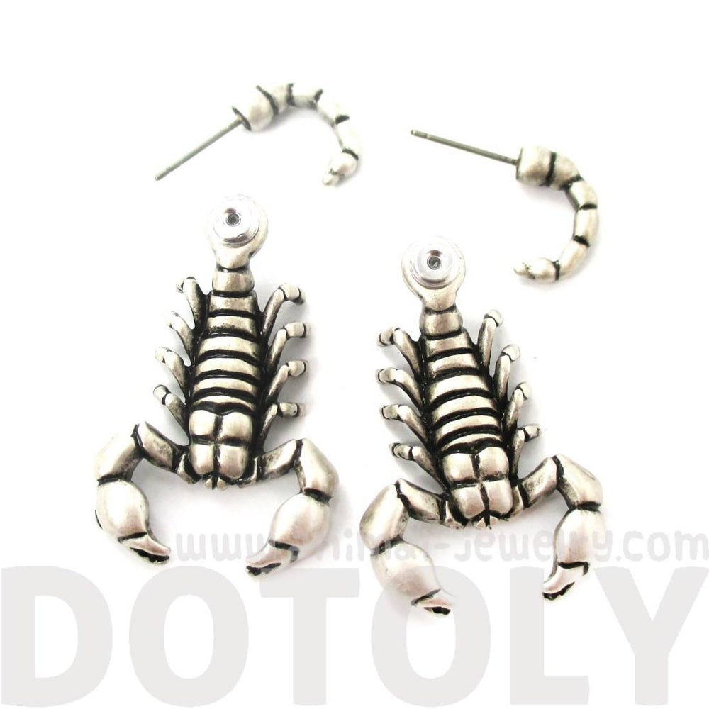 Scorpion Shaped Front and Back Fake Gauge Stud Earrings in Silver