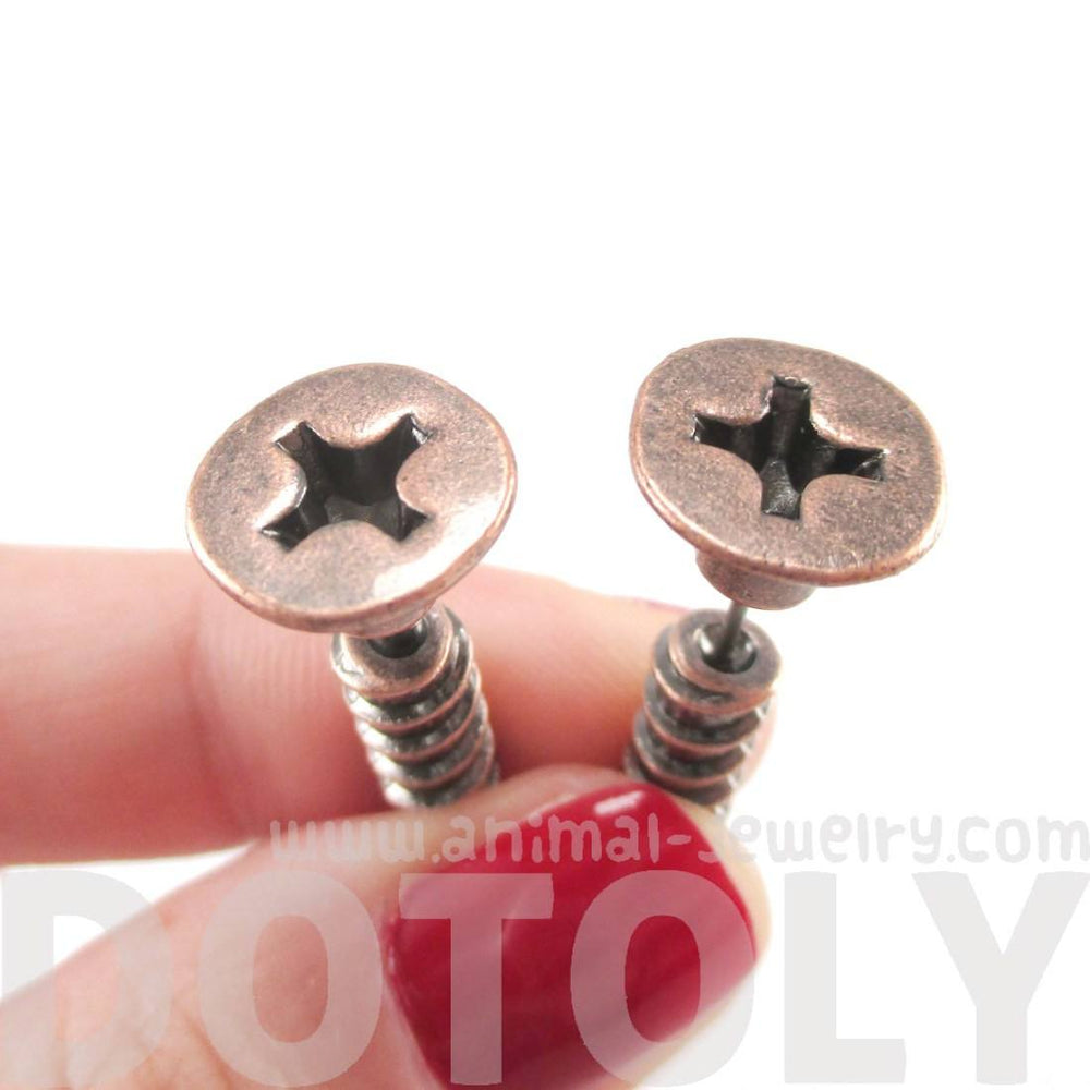 3D Screw Shaped Front and Back Stud Earrings in Copper