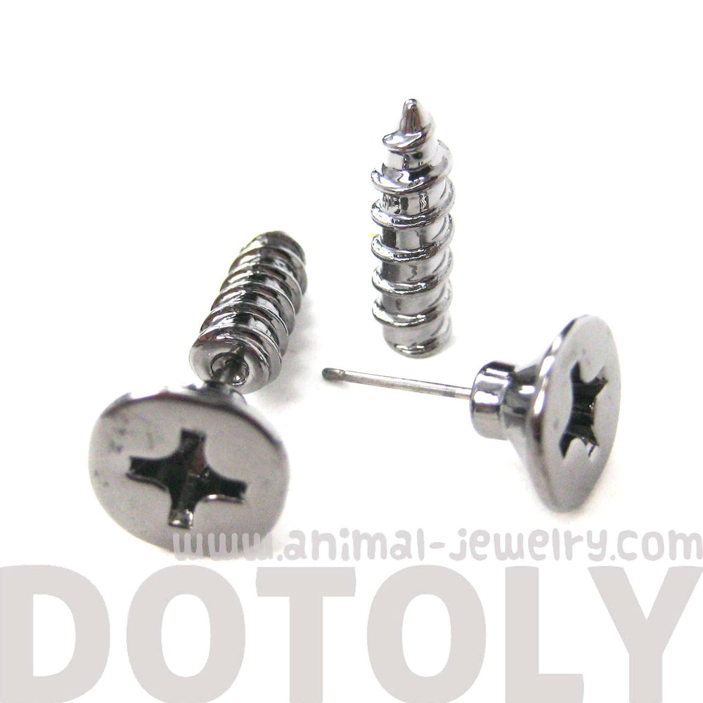fake-gauge-earrings-realistic-screw-shaped-faux-plug-stud-earrings-in-gunmetal-silver