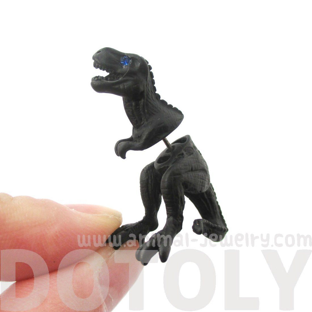 3D Tyrannosaurus T-Rex Shaped Front and Back Stud Earrings in Black