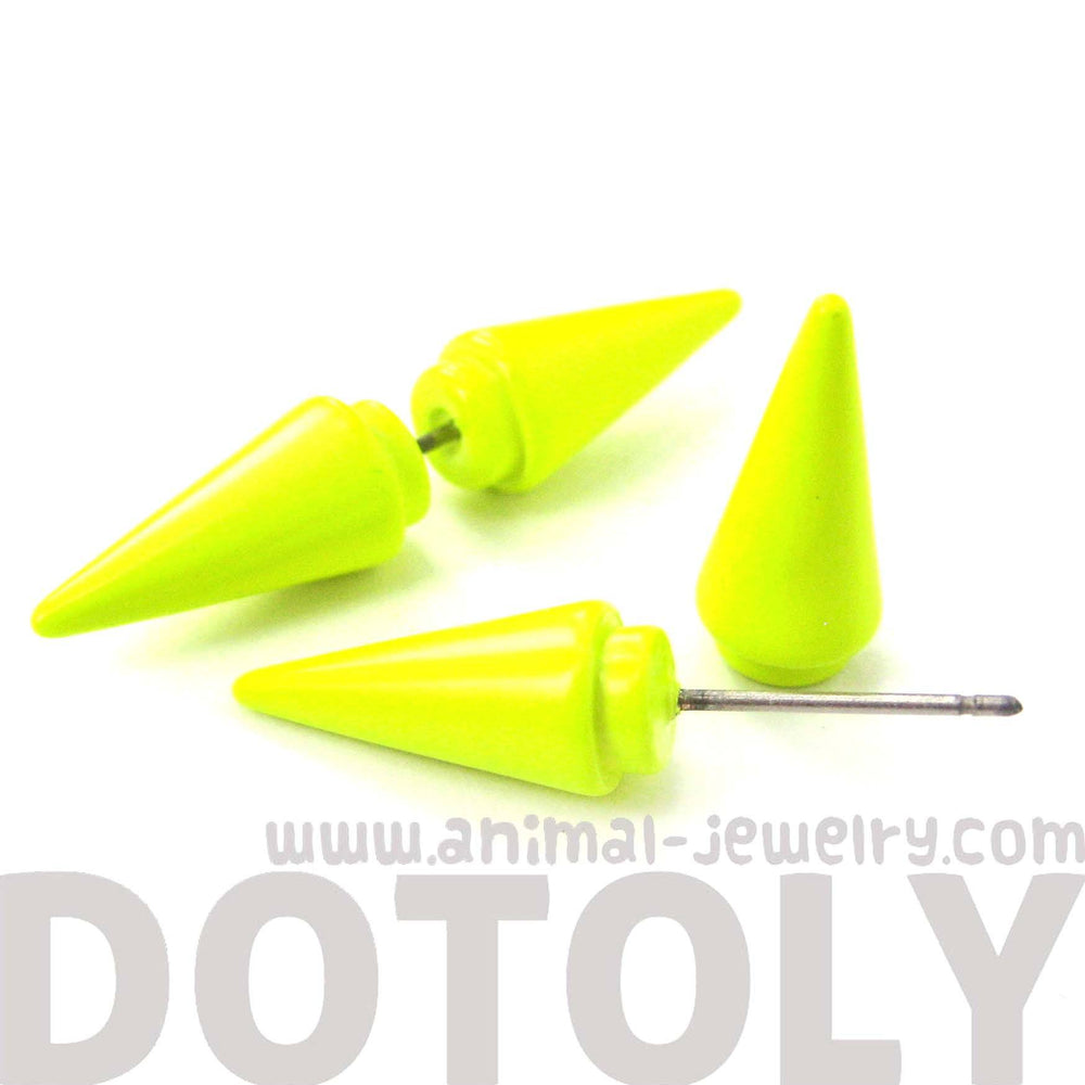 Fake Gauge Earrings: Rocker Chic Geometric Spike Faux Plug Stud Earrings in Neon Yellow | DOTOLY