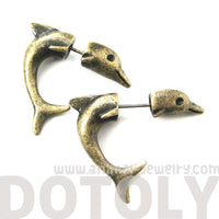 fake-gauge-earrings-small-dolphin-sea-animal-shaped-plug-stud-earrings-in-brass