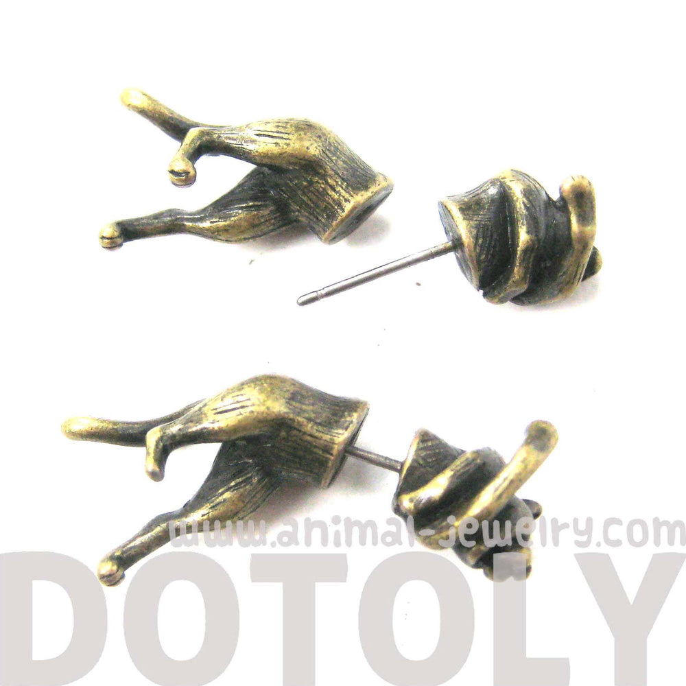 Striking Tiger Leopard Cat Shaped Fake Gauge Plug Earrings in Brass