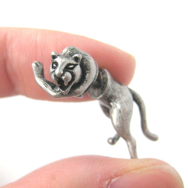 Striking Tiger Leopard Cat Shaped Fake Gauge Plug Earrings in Silver