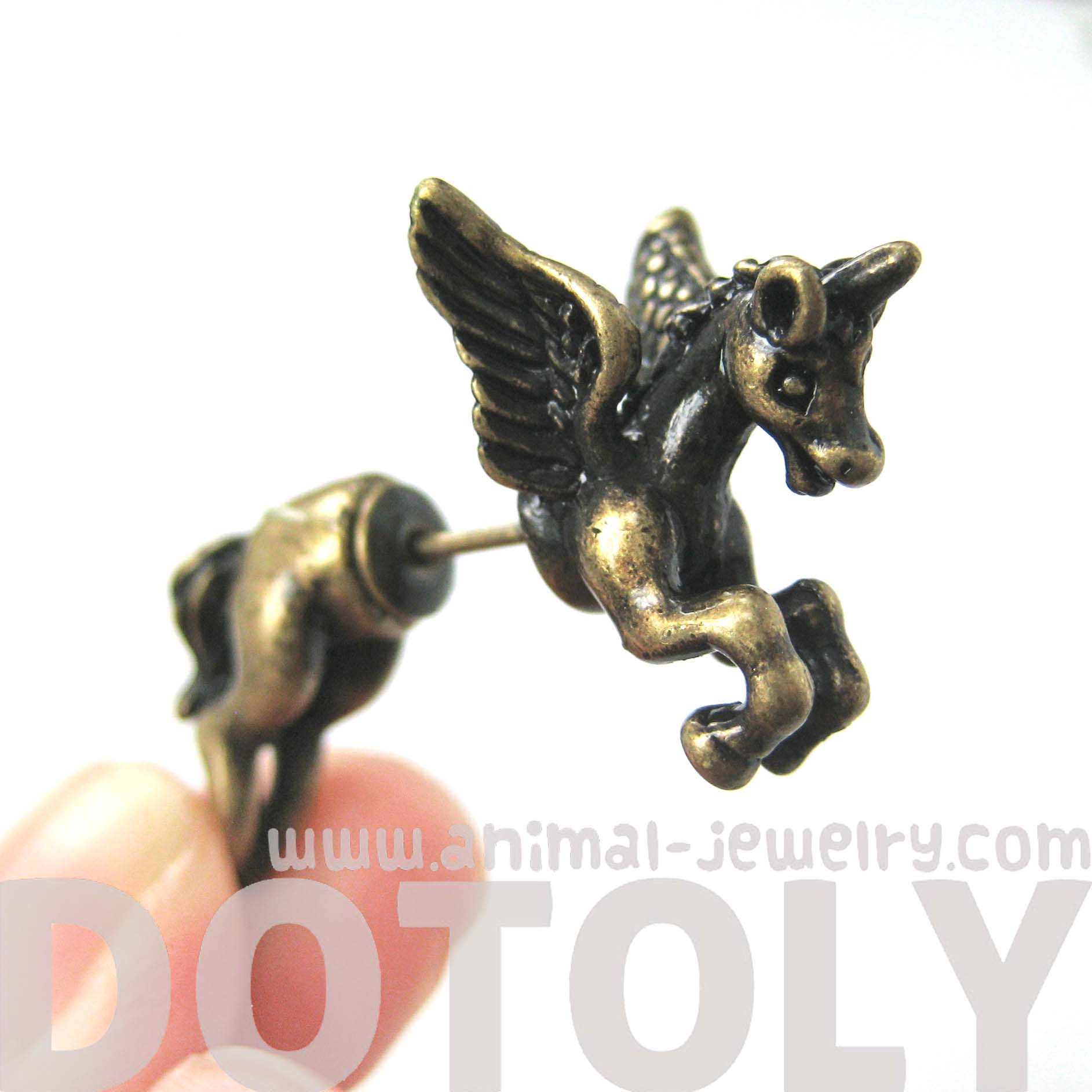 fake-gauge-earrings-unicorn-horse-animal-faux-plug-stud-earrings-in-brass