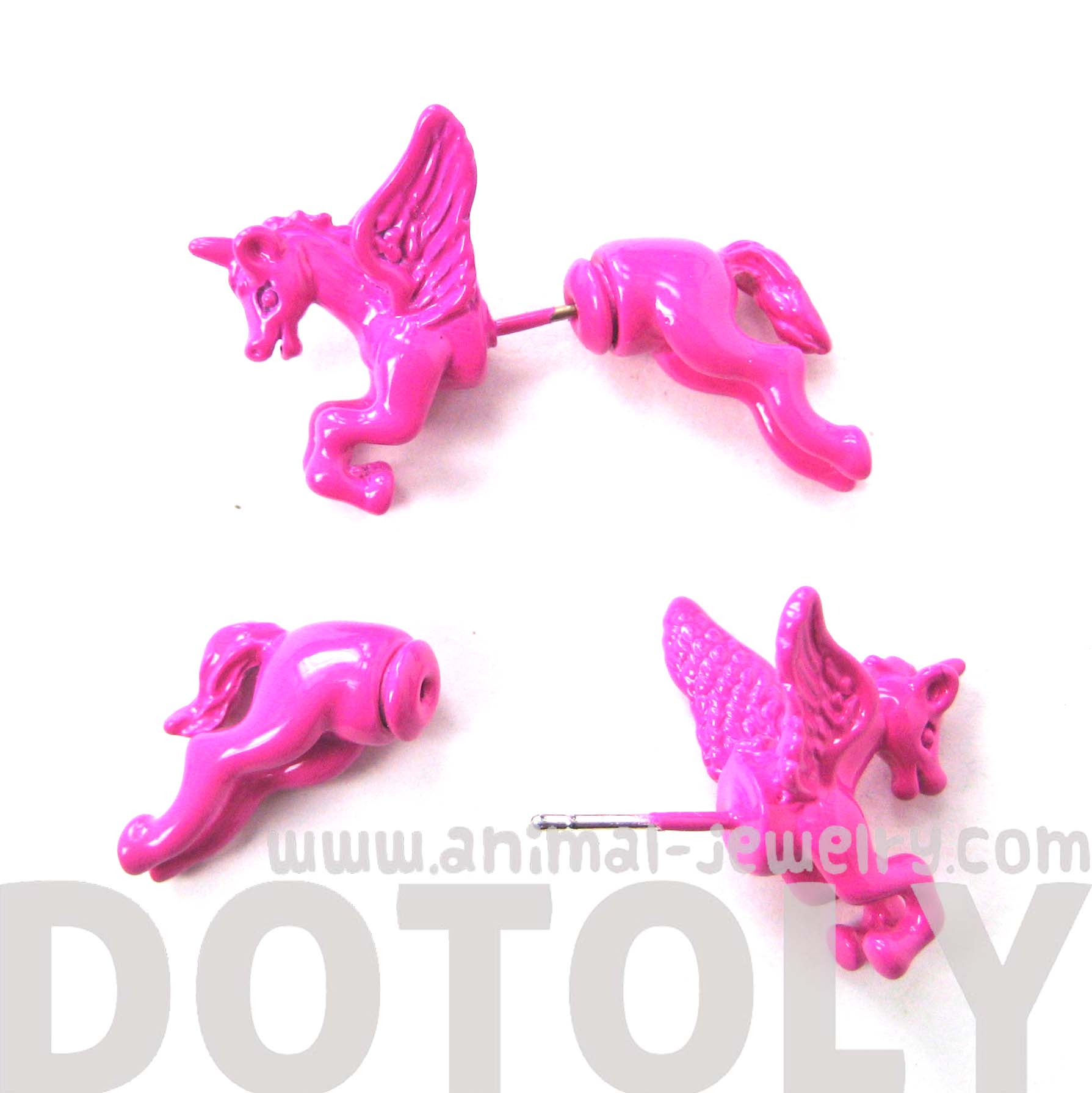 fake-gauge-earrings-unicorn-horse-animal-faux-plug-stud-earrings-in-bright-pink