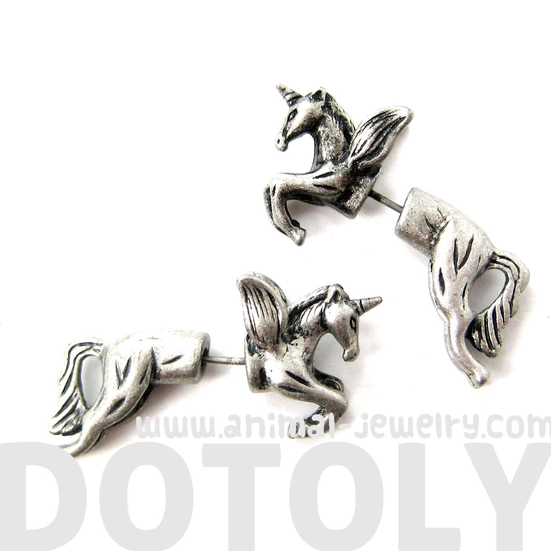 fake-gauge-earrings-unicorn-with-wings-animal-faux-plug-stud-earrings-in-silver