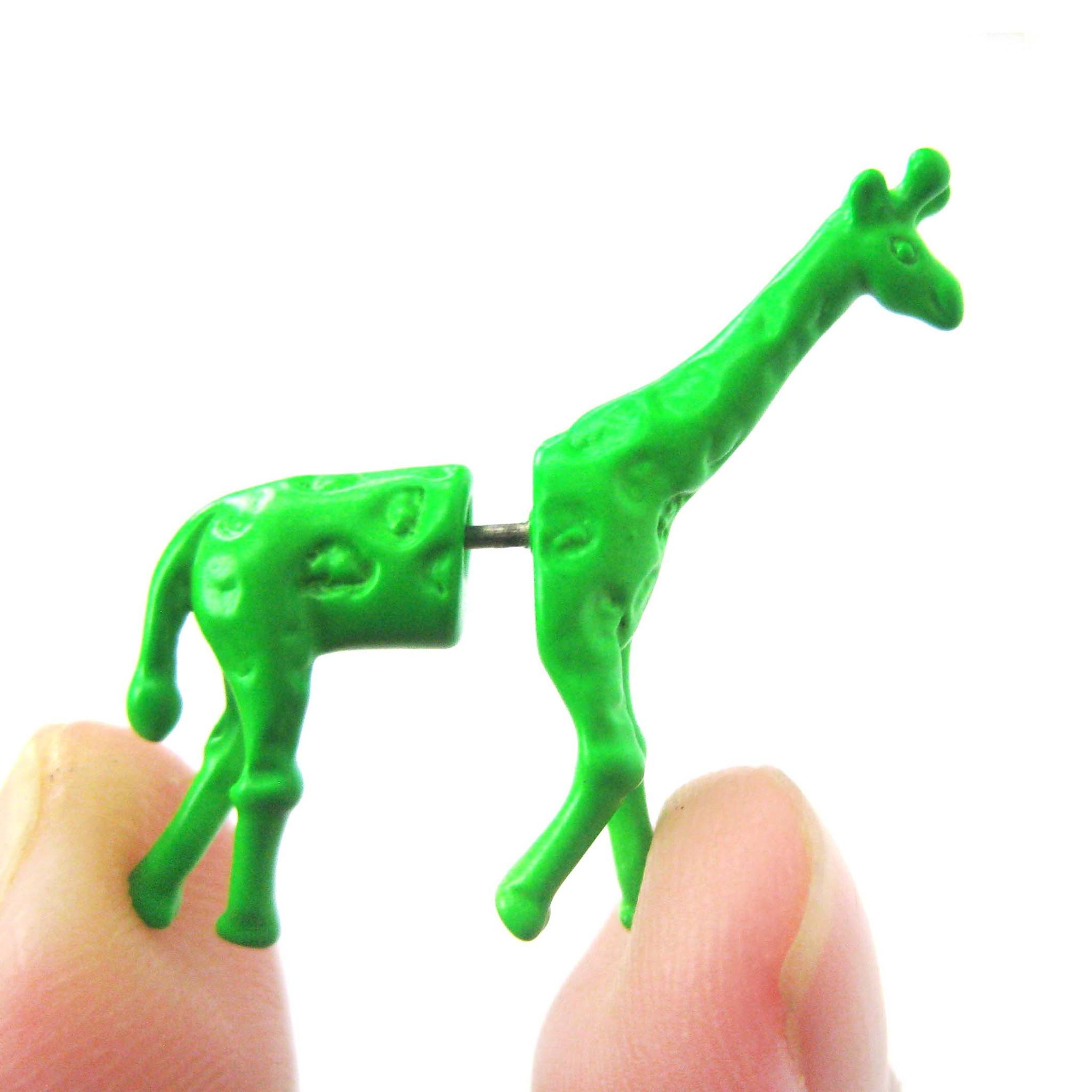 fake-gauge-earrings-unique-giraffe-shaped-animal-faux-plug-stud-earrings-in-green