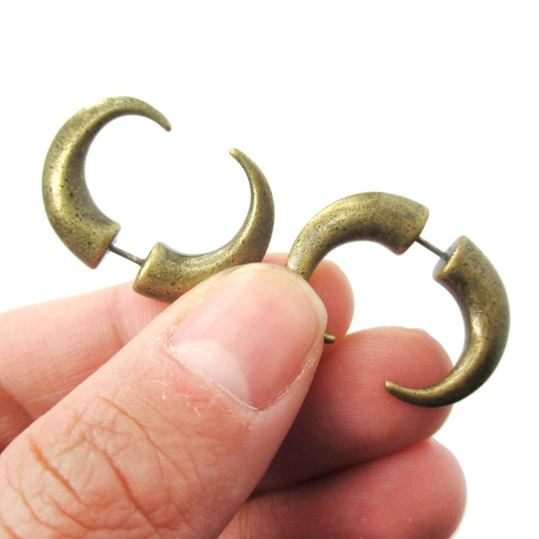 Unisex Spike Hook Shaped Front and Back Fake Gauge Earrings in Brass