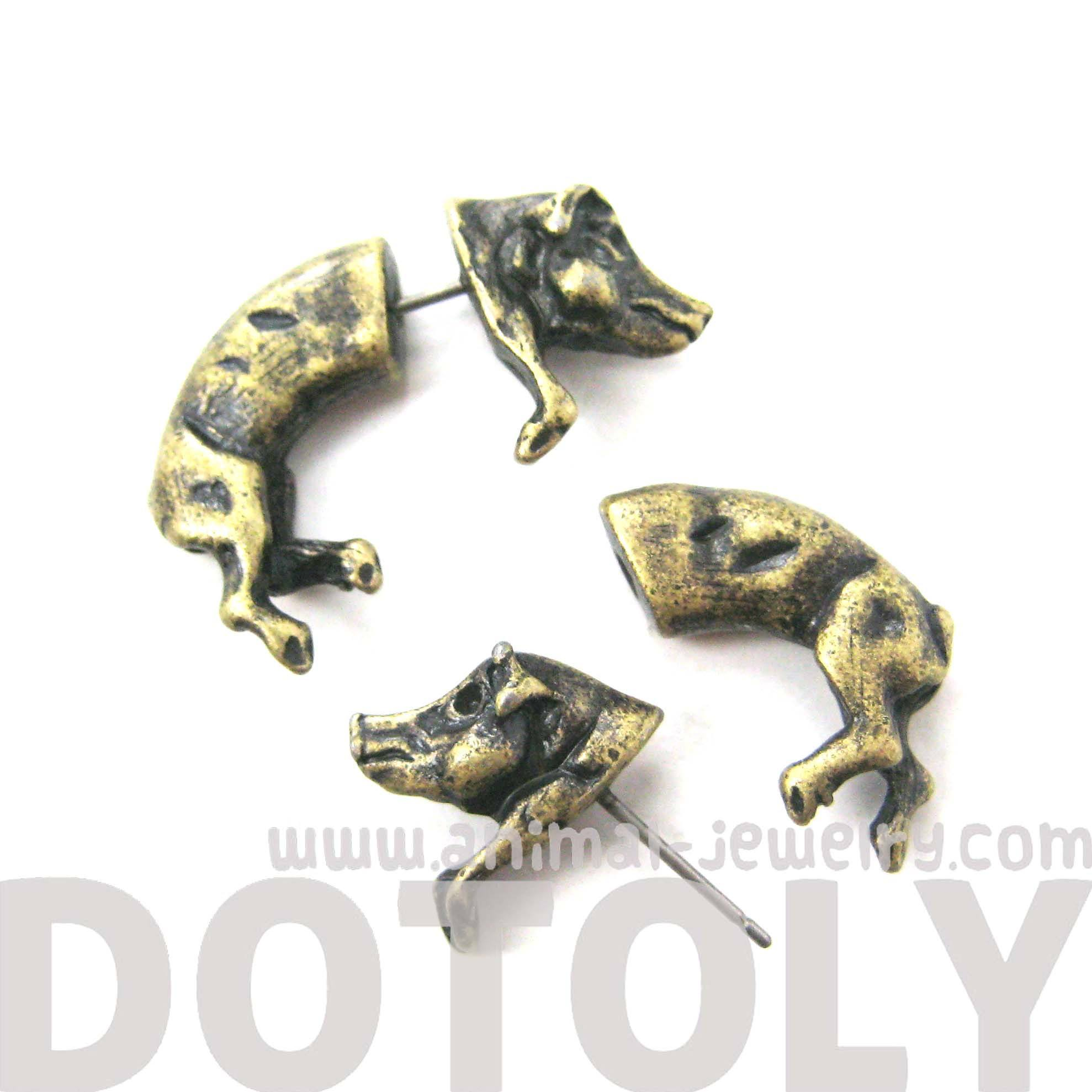 Wild Boar Pig Animal Shaped Plug Fake Gauge Earrings in Brass