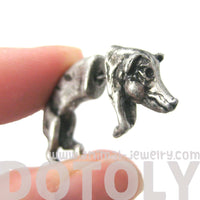 Wild Boar Pig Animal Shaped Plug Fake Gauge Earrings in Silver