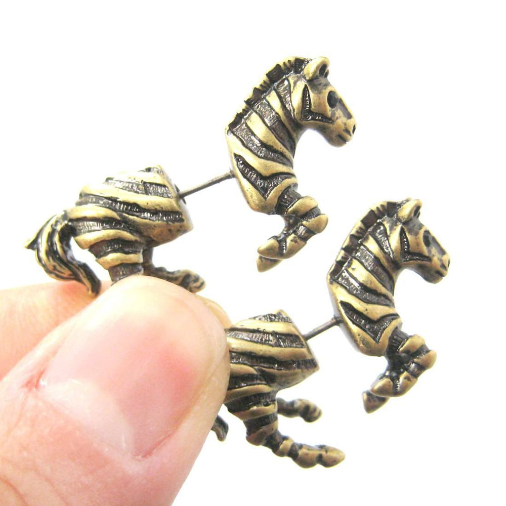 Fake Gauge Earrings: Zebra Horse Animal Shaped Stud Plug Earrings in Brass | DOTOLY